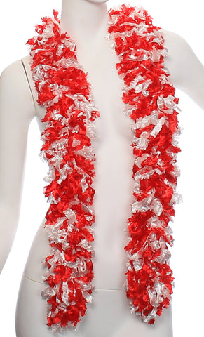 Original Featherless Boa - Red and White - Happy Boa: Faux Feather Boa