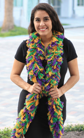 SUPER Sized Featherless Boa - Mardi Gras - Happy Boa: Faux Feather Boa