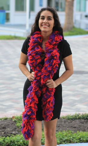 SUPER Sized Featherless Boa - Red and Purple - Happy Boa: Faux Feather Boa