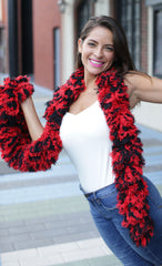 SUPER Sized Featherless Boa - Black and Red - Happy Boa: Faux Feather Boa