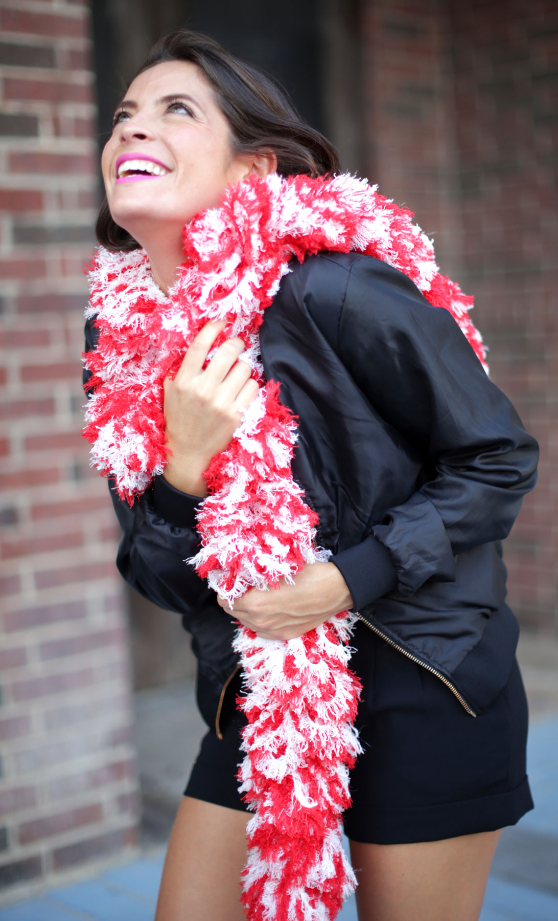 SUPER Sized Featherless Boa - Red and White - Happy Boa: Faux Feather Boa