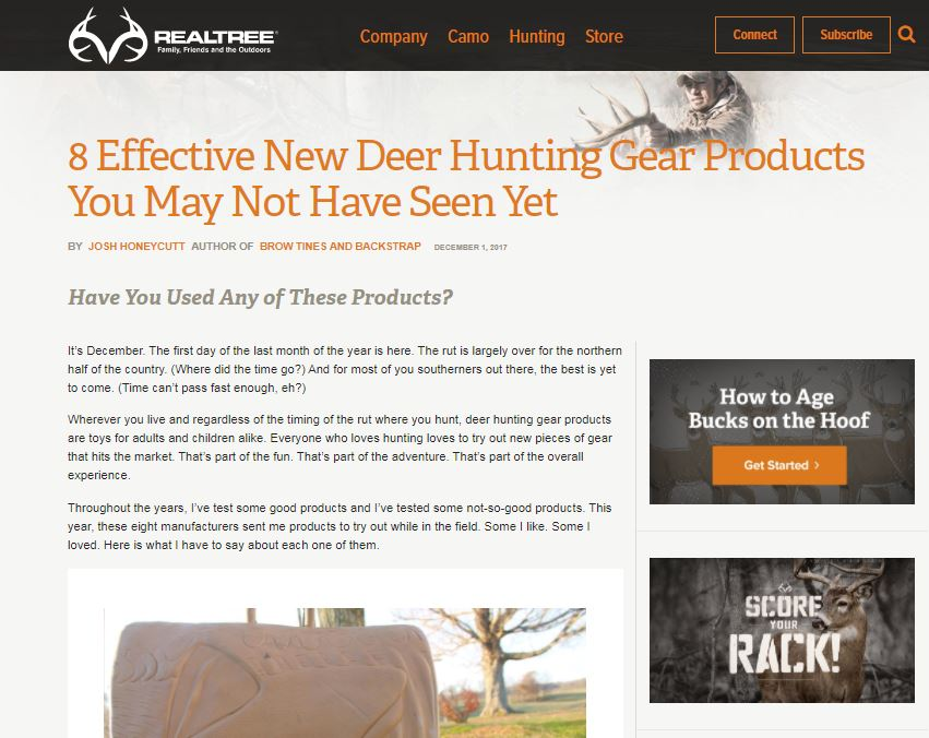 "Morrell Back to Back made the list of ""8 Effective New Deer Hunting Gear Products You May Not of Heard About"""