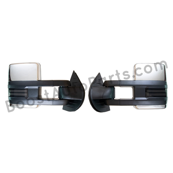 boost auto parts tow towing mirrors mirror chevy gm gmc silverado sierra 1500 2500hd duramax black chrome smoked amber paint to match white boost auto parts boostautoparts.com