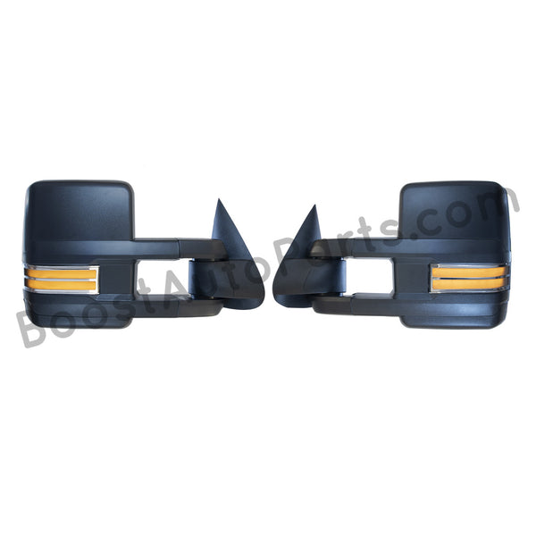 boost auto parts tow towing mirrors mirror chevy gm gmc silverado sierra 1500 2500hd duramax black chrome smoked amber paint to match white boost auto parts boostautoparts.com 03 04 05 06 07 2003 2004 2005 2006 2007