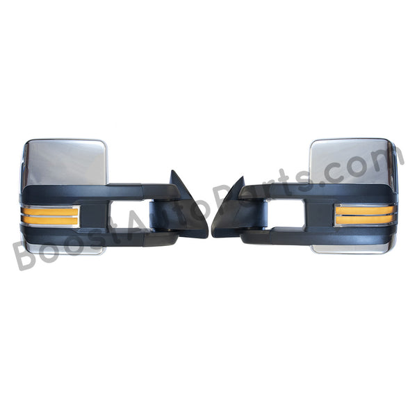 boost auto parts tow towing mirrors mirror chevy gm gmc silverado sierra 1500 2500hd duramax black chrome smoked amber paint to match white boost auto parts boostautoparts.com 1988 1989 1990 1991 1992 1993 1994 1995 1996 1997 1998