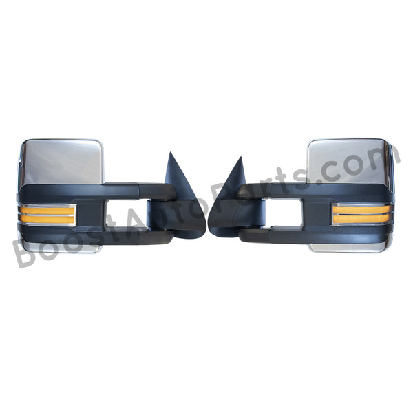 boost auto parts tow towing mirrors mirror chevy gm gmc silverado sierra 1500 2500hd duramax black chrome smoked amber paint to match white boost auto parts boostautoparts.com 1999 2000 2001 2002