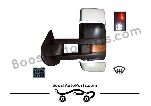 diesel compatible rpo k40 ambient air sensor boost auto parts tow towing mirrors mirror chevy gm gmc silverado sierra 1500 2500hd duramax black chrome smoked amber paint to match white boost auto parts boostautoparts.com dpn dqs