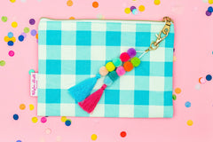 Blue Gingham Pouch with Pom and Tassel Keychain
