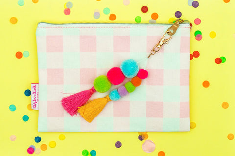 Pink Gingham Pouch with Pom and Tassel Keychain