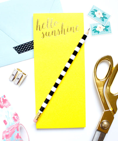 Hello Sunshine List Pad with Gold Foil