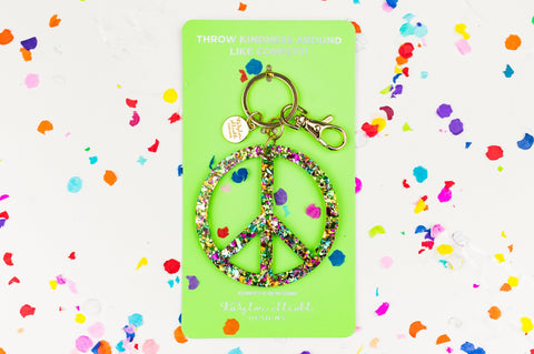 Confetti Peace Sign Keychain