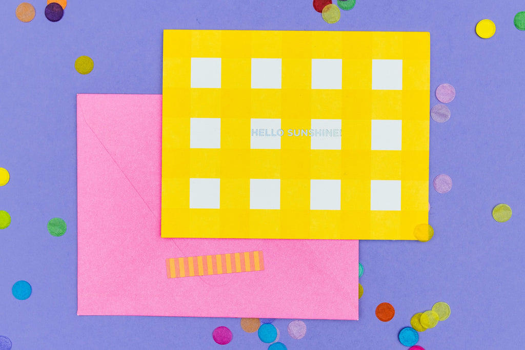 Yellow Gingham Note Card Set - Hello Sunshine!