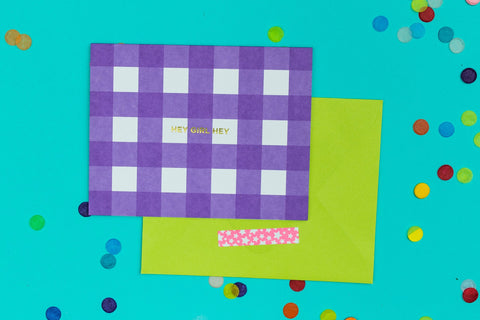 Purple Gingham Note Card Set - Hey Girl Hey