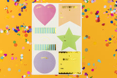 Neon Gift Tag Stickers, 48 stickers