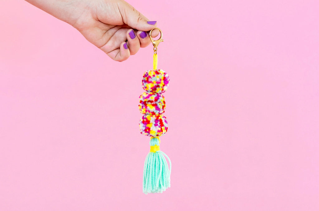 Multi-Colored Pom + Tassel Keychain