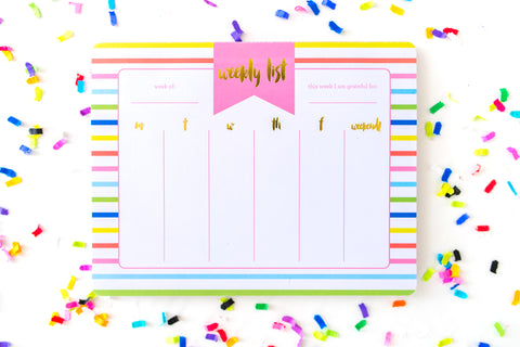 Striped Weekly Calendar Planner List Pad