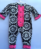 Black & White Pink Ruffle Placket Girls Longall -Infant, Toddler