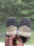 Black & White Swallow Gird Genuine Leather Moccasins-Infant, Toddler
