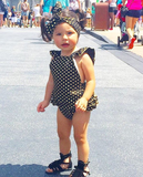 Black Polka Dot Seaside Bella Summer Baby, Toddler Romper with Headband