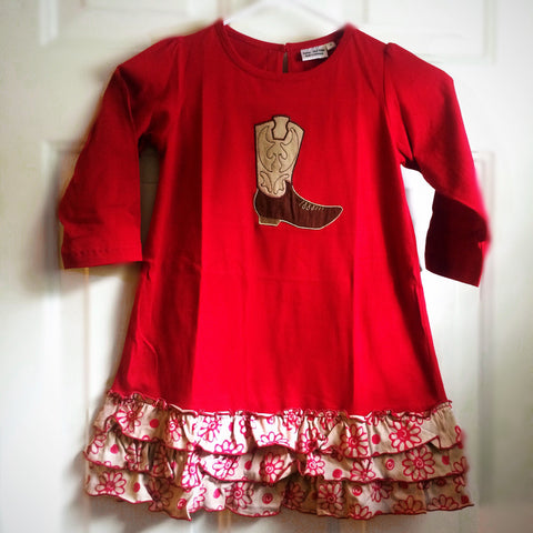 Country Sass Red-Boot Cowgirl Drop Waist Ruffle Dress-Toddler