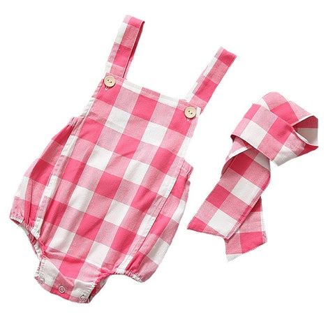 Pink & White Plaid Girls Romper with Headband