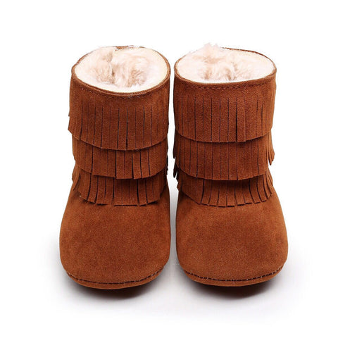 Chestnut Faux-Fur Lined Suede Fringe Boots-Infant,Toddler