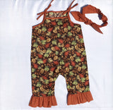 Girls Tossed Leaves on Brown Fall Harvest, Thanksgiving Romper-Infant, Toddler