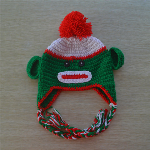 Crochet Christmas Sock Monkey Baby Beanie/ Hat