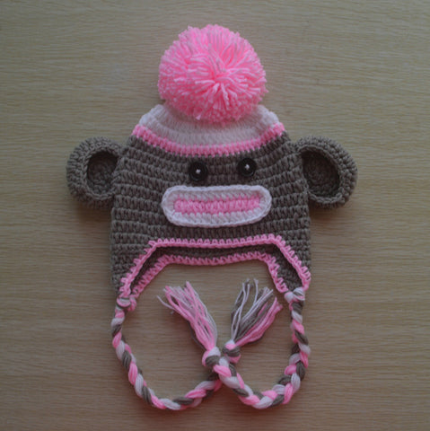 Crochet Pink Sock Monkey Baby Beanie/Hat