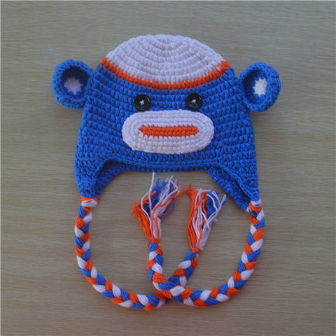 Crochet Ocean Blue Sock Monkey Beanie Hat
