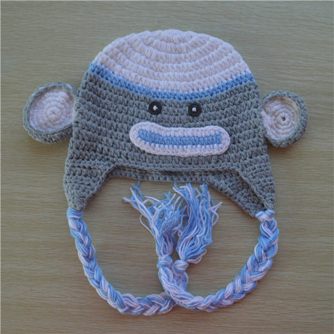 Crochet Blue and Grey Sock Monkey Beanie/ Hat