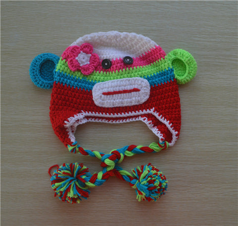 Crochet Lime Green and Red Sock Monkey Baby Beanie/ Hat