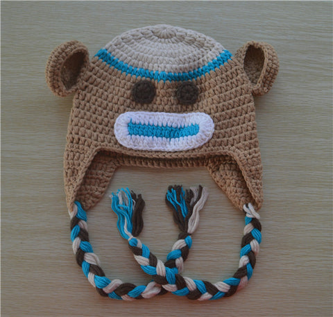 Crochet Tan and Blue Sock Monkey Baby Beanie/ Hat
