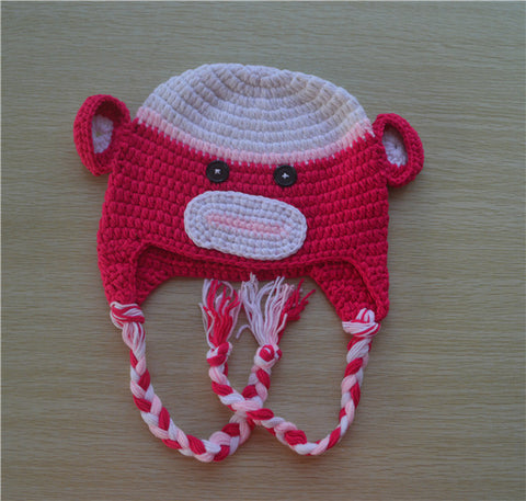 Crochet Hot Pink Sock Monkey Baby Beanie/ Hat