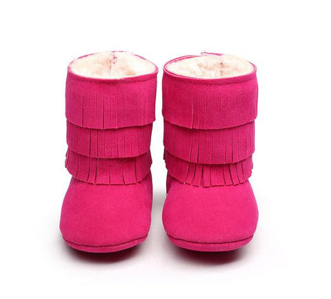 Fuchsia Pink Faux-Fur Lined Suede Fringe Boots-Infant,Toddler