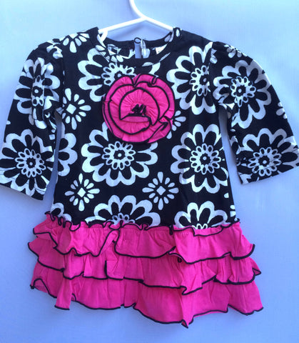 Black & White Flower Placket Ruffle Girls Dress-Toddler