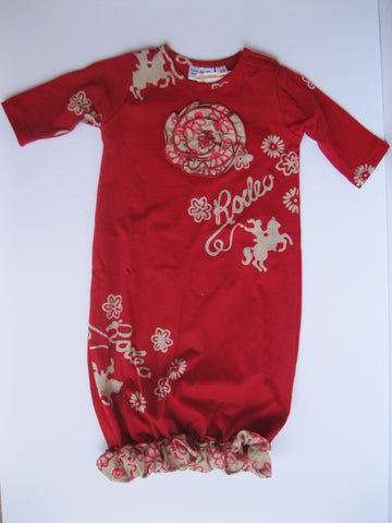 Cowgirl Sass Rodeo Cowgirl, Western Girl Baby Gown-Infant