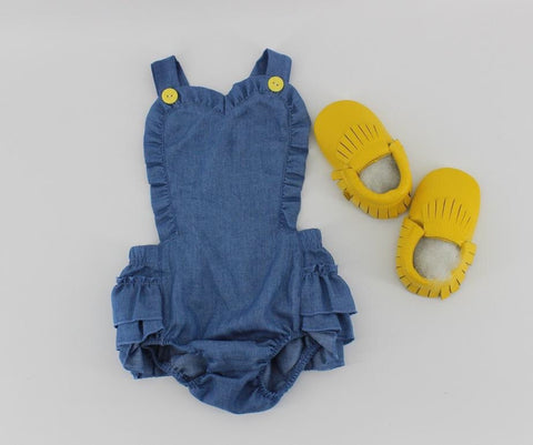 Little Love Girls Demin Chambray, Ruffle Romper-Infant, Toddler