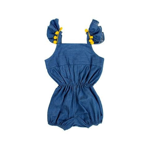Chambray Girls Romper with Yellow Pom Pom Trim and Flutter Sleeves-Infant, Toddler