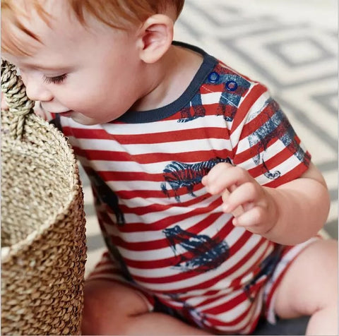 Red and White Striped Animal Baby, Toddler Romper