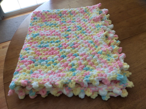 Yellow Pink White Blue Bulky Yarn With Picot Edge Crochet Baby