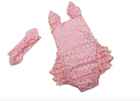 Pink Polka Dots Seaside Bella Romper with Headband- Infant, Toddler