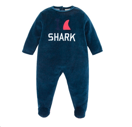 Dark Blue Velvet Shark One-Piece Winter Coverall