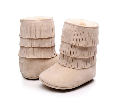 Tawny Faux-Fur Lined Suede Fringe Boots-Infant, Toddlers