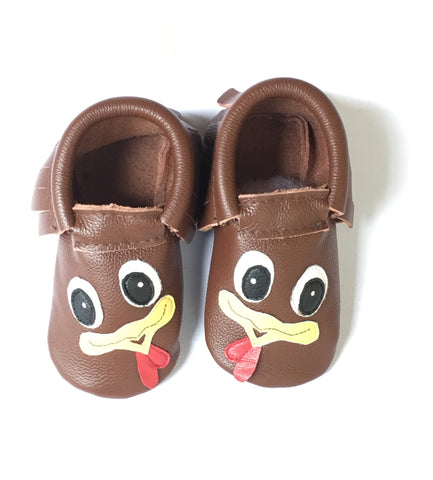 Turkey Thanksgiving Leather Moccasins-Infant, Toddler