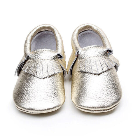 Gold Tassel Soft Sole Leather Moccasins-Infant, Toddler