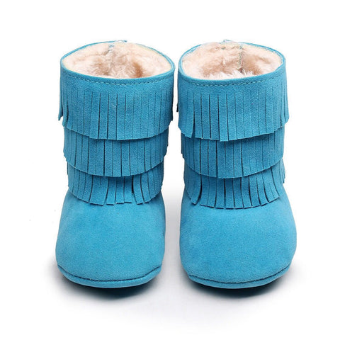 Blue Faux-Fur Lined Suede Fringe Boots-Infant, Toddler