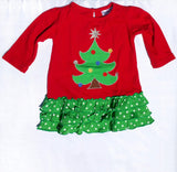 Girls Christmas Tree Applique' Dress with Leggings-Toddler