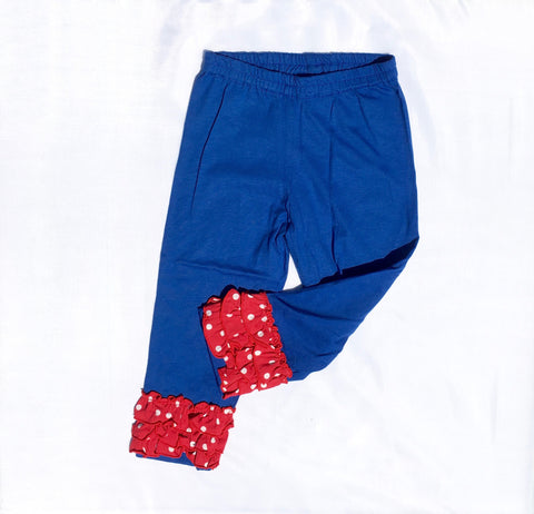 Blue Red Polka Dot Ruffled Leggings -Toddler