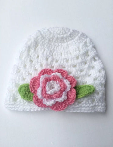 Baby Girl Crochet Beanie Hat White with Pink Flower